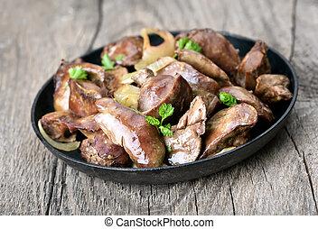 cotto, pollo, fegato, in, padella