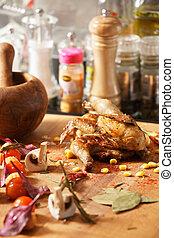 cotto, pollo, verdura