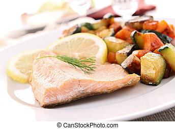 cotto, salmone, e, verdura