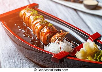 cotto, sushi, boat., gamberetto