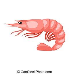cotto, tiger, shrimp., isolato, illustrazione, di, frutti mare, bianco, fondo