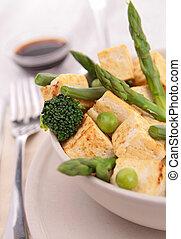 cotto, tofu, e, verdura