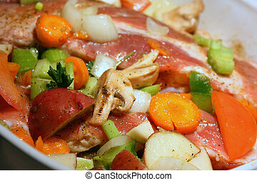 cotto, verdura, carne