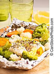 cotto, verdura, limone, lamina, pollo