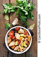 cotto, verdura, pollo, filetto