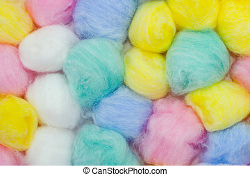 Cotton balls, abstact multicolored background