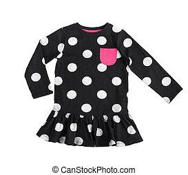 cotton black polka dot dress for little girl isolated on white