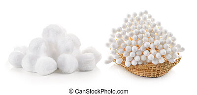 cotton bud and cotton wool in the basket on white background