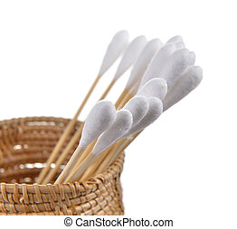 cotton bud in the basket on white background