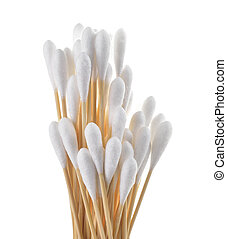 cotton bud on white background