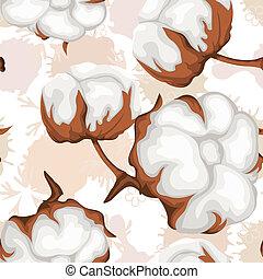 Cotton buds branch. Seamless pattern