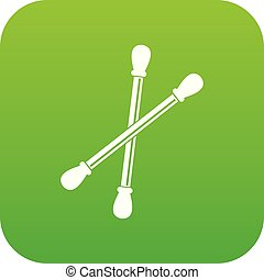 Cotton buds icon digital green for any design isolated on...