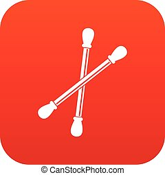 Cotton buds icon digital red for any design isolated on...