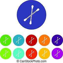 Cotton buds icons set flat vector - Cotton buds icons set in...