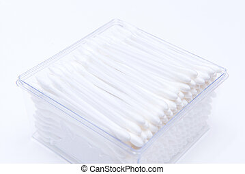 Cotton buds in plastic box isolated on white background