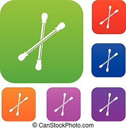 Cotton buds set color collection - Cotton buds set icon...