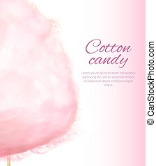 Cotton Candy Banner with Sweet Floss Spun Sugar - Closeup...