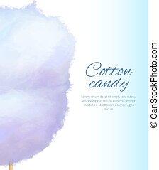 Cotton Candy Banner with Sweet Floss Spun Sugar - Closeup...