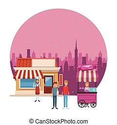 cotton candy cart cartoon - cotton candy cart and bakery...