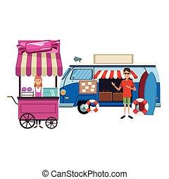 cotton candy cart cartoon - cotton candy cart and trip van...