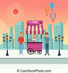 cotton candy cart cartoon - cotton candy cart with clients...