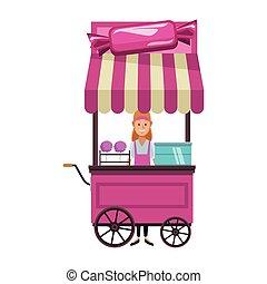 cotton candy cart cartoon - cotton candy cart woman cartoon...