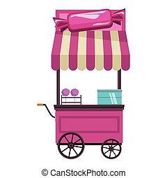 cotton candy cart cartoon vector illustration graphic design