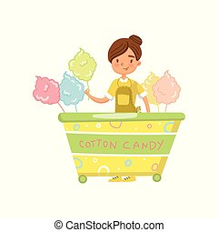 Cotton candy cart with female seller, food kiosk on wheels cartoon vector Illustration