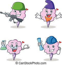 Cotton candy character set with army elf professor architect