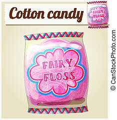 Cotton candy Fairy floss in a bag. Vector icon