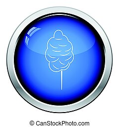 Cotton candy icon. Glossy button design. Vector...