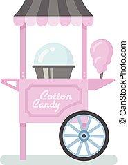 Cotton Candy Machine Flat Illustration