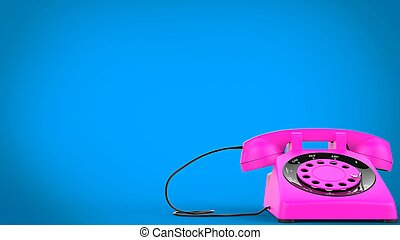 Cotton candy pink vintage telephone - 3D Illustration