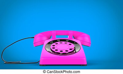 Cotton candy pink vintage telephone - closeup shot - 3D Illustration