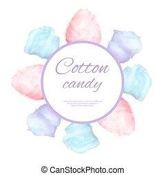 Cotton candy round button surround by sweet sugar - Cotton...