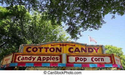 Cotton Candy Stand Signage in Carnival Festival one Sunny Blue Sky Day 1920x1080
