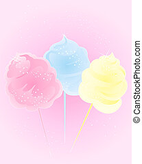 cotton candy sweet - an illustration of colorful cotton...