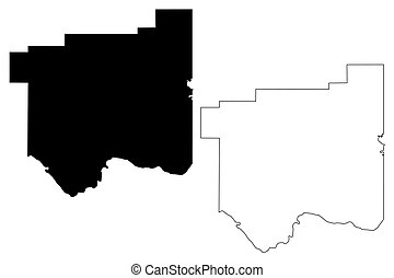 Cotton County, Oklahoma State (U.S. county, United States of America, USA, U.S., US) map vector illustration, scribble sketch Cotton map