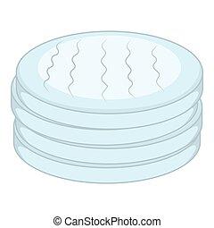 Cotton disc icon, cartoon style