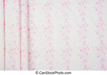 Cotton fabric texture, background, white with red (pink) flowers pattern