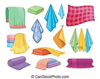 Cotton fabric vector towel. Bathroom and kitchen towels...