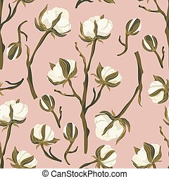 Cotton flower vector seamless pattern.