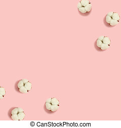 Cotton flowers frame on a pink pastel background.
