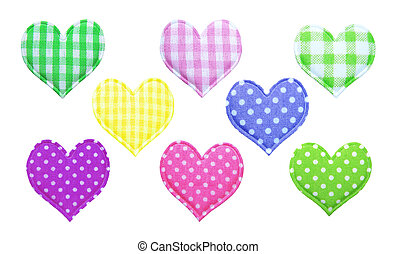 Cotton hearts on a white background
