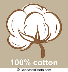 Cotton icon - 100% cotton icon on a beige background