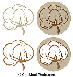Cotton icons - 100% cotton icons. Set of four label ...