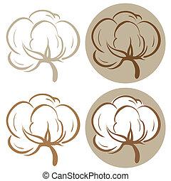 Cotton icons - 100% cotton icons. Set of four label...