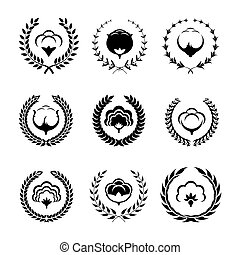Cotton icons and logo set with circular foliate.