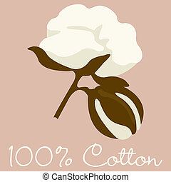 Cotton - 100% Cotton sign in vector format.