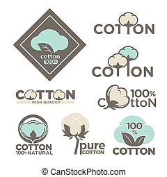 Cotton labels or logo for pure 100 percent natural cotton textile tags.